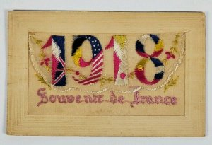 WWI Silk Embrd Envelope Patriotic Allies From US Soldier Reading Pa Postcard M10