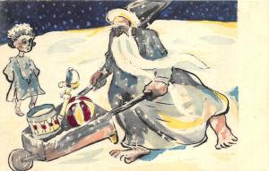 French Christmas Gray Blue Santa Claus Wheel Barrow Drum Ball Postcard