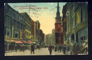 Boston, Massachusetts/MA Postcard, Washington Street, Old South Church, 1917!