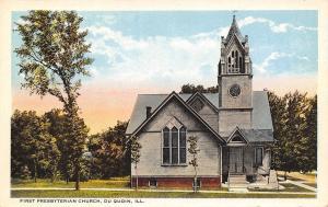 Du Quoin Illinois~First Presbyterian Church on a Pleasant Morning~Postcard 1916