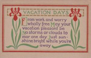Motto Card Vacation Days From Work and Worry