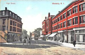 Westerly RI High Street Horse & Wagon Trolley Postcard