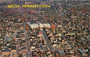 Media Pennsylvania Aerial View~Cars in Streets-Buildings-Houses-Autumn Trees~60s