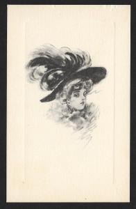 Head Only of Pretty Lady in Big Hat Unused c1910s