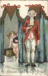 New Year - Victorian Man & Cherub w/ Suitcase HBG Griggs c1910 Postcard