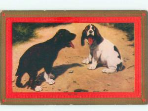 Divided-Back DOG SCENE Great Postcard AA9313