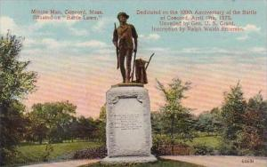 Massachustetts Concord Minute Man Situated On Battle Lawn