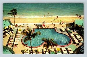 Miami Beach FL, Ivanhoe Hotel, Pool, Beach, Chrome Florida Postcard