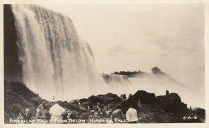 RP: NIAGARA FALLS , New York , 1930-40s; American Falls from below Niagara Falls