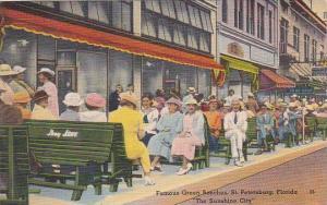 Florida Saint Petersburg Famous Green benches The Sunshine 1943