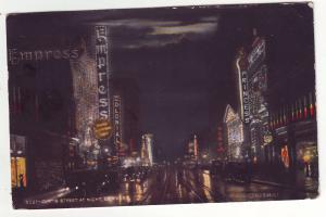 P621 JLs 1913 denver colorado curtis st. night scene auto,s, store, hotel signs