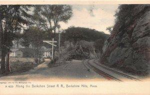 Along the Berkshire St. Railroad, Berkshire Hills, MA, Early Postcard, Unused
