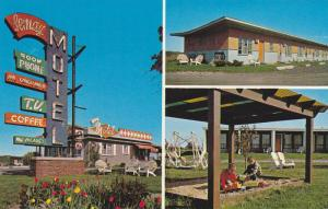 Welcome Sign, Kids in Sandbox, Exterior View of Motel Lemay, Ottawa, Ontario,...