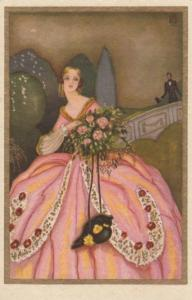 ART DECO ; Female wearing pink gown with bouquet of flowers, 1910-20s