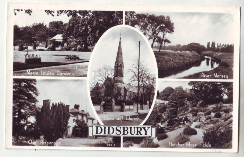 P1061 vintage RPPC Didsbury a suburban area of Manchester, England multiview