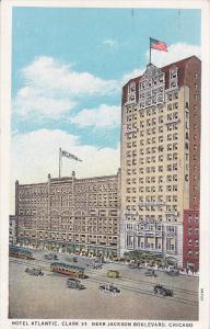 CHICAGO, Illinois, PU-1933; Hotel Atlantic, Classic Cars, Cable Cars
