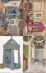 The Queens Dollhouse Bathroom Bedroom Four Poster Bed 4x Postcard s