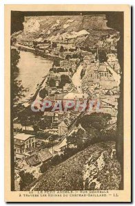 Old Postcard The Little Andely General view across the Chateau Gaillard Ruins