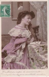 Beautiful Lady On Telephone 1908 Real Photo