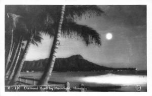 Hawaii Honolulu Diamond Head, Palm Trees, by Moonlight rppc