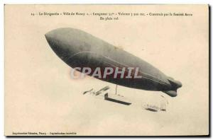 Postcard Old Airship Zeppelin airship City of Nancy Company Astra In full flight