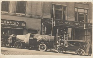 RP:THERMOS Bottle Truck in front of J.G.McCroy Co. Store , 1900-10s