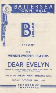 Dear Evelyn Battersea Town Hall Friday Night Theatre 1956 Programme