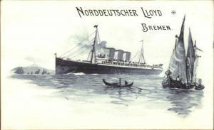 Nordd Lloyd Bremen Steamship & Sailboat c1900 Menu Top Postcard