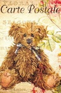 Postcard French Vintage Shabby Chic Style Steiff Teddy Bear Floral 83J