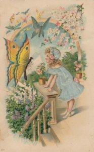 BUTTERFLY & girl in blue silk dress , 00-10s