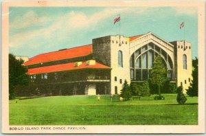 1940s ONTARIO Canada Postcard BOB-LO ISLAND PARK DANCE PAVILION Building View