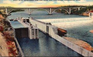 Minnesota Minneapolis U S Governemnt Dam and Locks and Ford Bridge Curteich