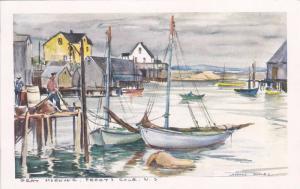 AS: Leonard Brooks, Gray Morning, Sail Boats, Peggy´s Cove, Nova Scotia, Can...