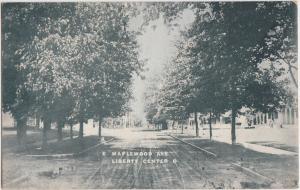Ohio Postcard 1911 LIBERTY CENTER Real Photo RPPC Napoleon MAPLEWOOD AVE