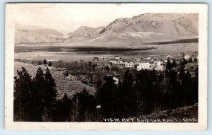 RPPC HOT SULPHUR SPRINGS, CO ~Birdseye View of Town  1924 Grand County Postcard