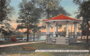Band Stand, Miller Park, Bloomington, Illinois, Early Postcard, Unused