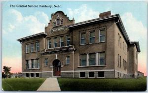 Fairbury, Nebraska Postcard The Central School Building View 1915 RPO Cancel