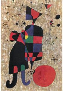 Art postcard Joan MIRO - People and dog in the sunlight
