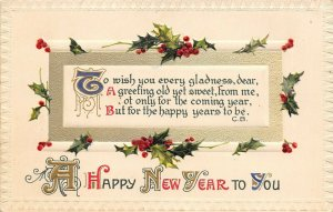 New Year Calligraphy~Red Blue Green Gold~Holly Berry Emboss~Winsch~1908 Germany