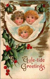 3 Angels - VINTAGE - MERRY Christmas - YULETIDE - EMBOSSED - POSTCARD