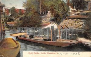Muscatine Iowa~Shell Fishing Outfit~Man in Strange Boat~Waterfront Dock~1908 PC