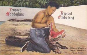 Florida Miami Tropical Hobbyland Henry Nelson Alligator Wrestling