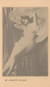 Beauty At Rest Risque Female White Veil Nude Model Postcard