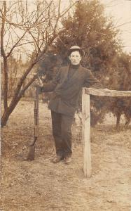 B31/ Hunting Real Photo RPPC Postcard c1910 Man with Rifle Coat Hat 15