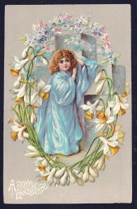 Joyful Eastertide Girl Daffodils & Cross Used c1910s