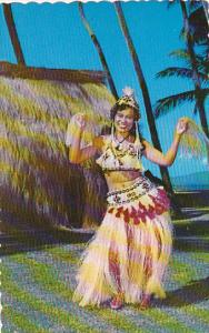 Tahiti Beautiful Tahitian Dancer In Traditional Outfit