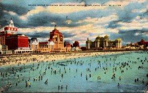 New Jersey Atlantic City Beach Scene Showing Beachfront Hotels 1940