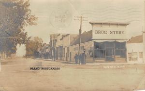 HERMAN, MINNESOTA DRUG STORE, STREET SCENE-1908 RPPC REAL PHOTO POSTCARD