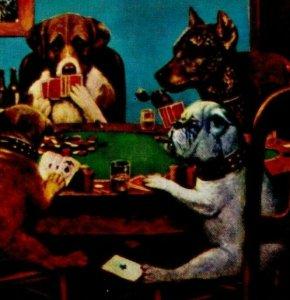 7 Dogs Playing Poker Cards H S Crocker San Francisco CA Vintage Post Card