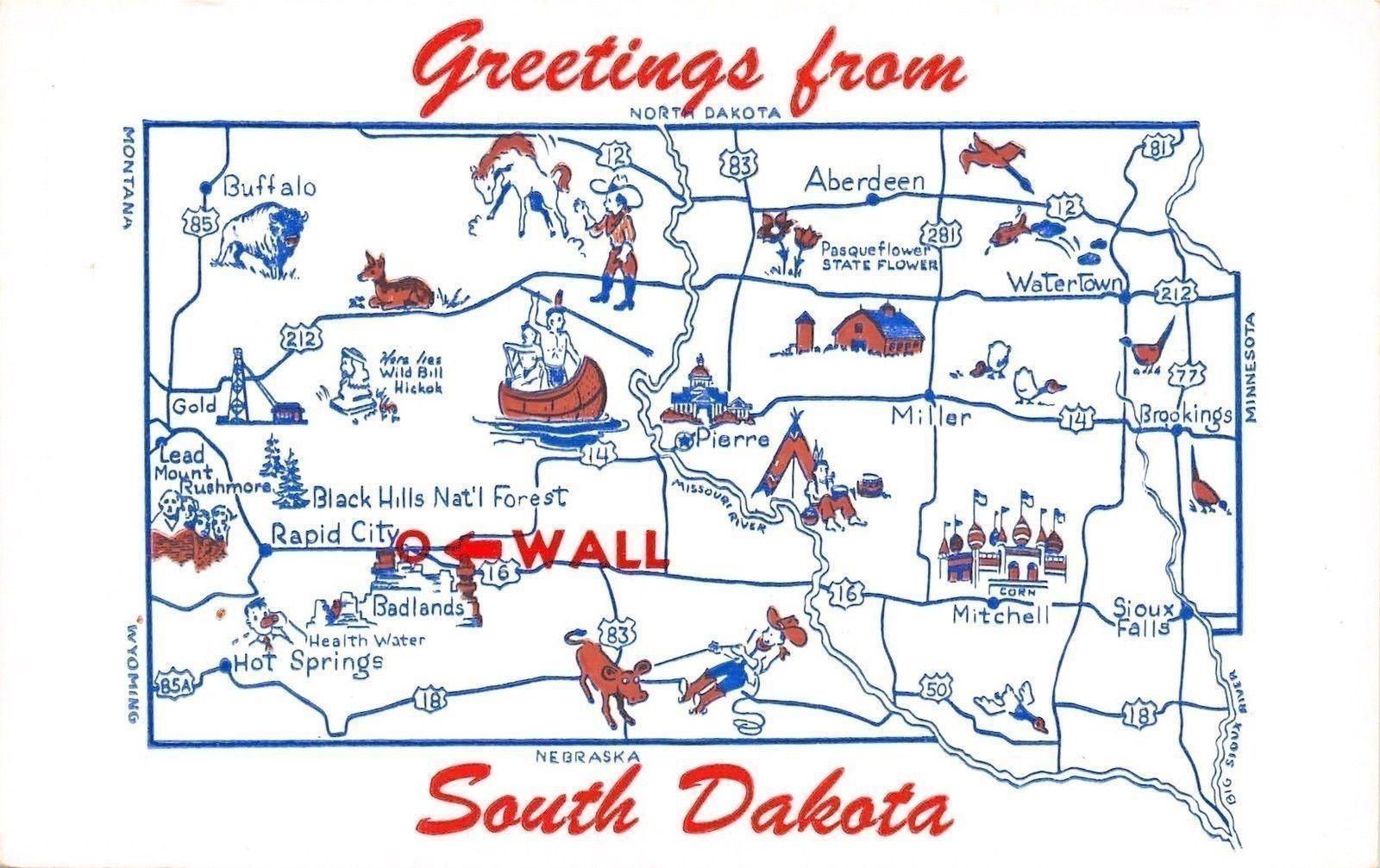 South Dakota State Map~Buffalo & Sioux Falls~Watertown to